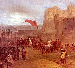 Charles I raises his personal standard outside Nottingham Castle, 22 August 1642.