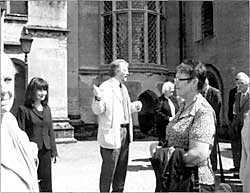 John Beckett lecturing outside Newstead Abbey.