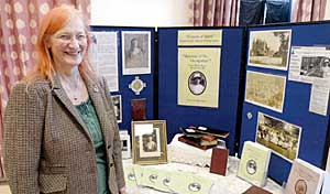 Dr Rowena Edlin-White who gave the Nora Witham Lecture on 8 January 2011, showing her display material at the meeting.