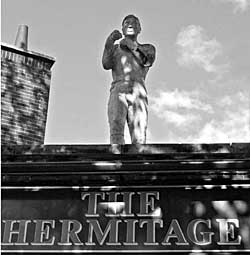 Bendigo's statue on the Hermitage pub in Sneinton. The pub was formerly called the Bendigo and is now for sale. Photo: Howard Fisher.