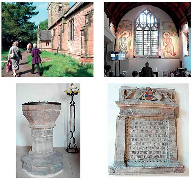 Clockwise from top left: Members arriving at St Martin's Church, Bilborough; The Evelyn Gibbs mural; The memorial to Sir Edmund Helwys, father of Thomas Helwys; The Font, thought to be late mediaeval.
