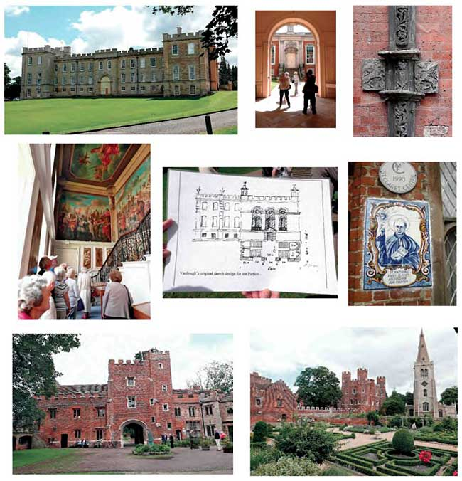 Top row: Kimbolton Castle; entrance to the Great Court; ornamental metalwork on the drainpipes; Middle row: members admire the Pellegrini murals on the Great Staircase; Vanbrugh's original drawings for the portico; St Antony Mary Claret, founder of the Claret Centre at Buckden. Bottom row: Buckden Towers; the Tudor knot garden.