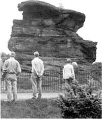The Hemlock Stone, with assembled Thoroton Society members.