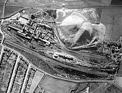 Summit Colliery: aerial photograph 1948 Sites and Monuments Record Kirkby Hardwick can be seen on the extreme right centre of the photograph, arrowed.