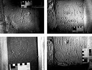 Graffiti in the church of Hawton All Saints.