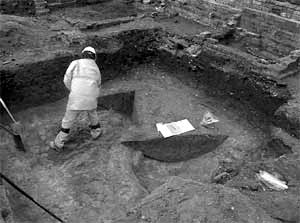 Excavating one of the mediaeval ditches at the Lower parliament site - photo courtesy of Scott Lomax.