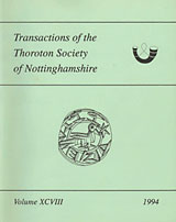 Cover of Transactions of the Thoroton Society volume 98 (1994)